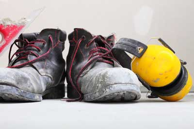 hearing protection and construction boots